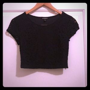 Express Lace Crop Top Black Size XS NWOT